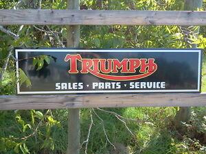 BLACK ,Vintage style Triumph Motorcycle Sign 1'x4' DEALER METAL, aluminum NEW!