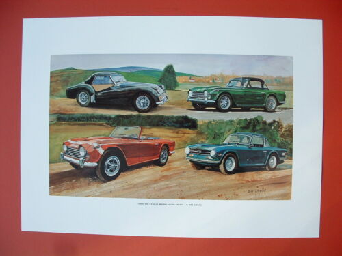 Triumph TR6 TR250 TR4A TR3A Triumph TR British sports car ltd ed print