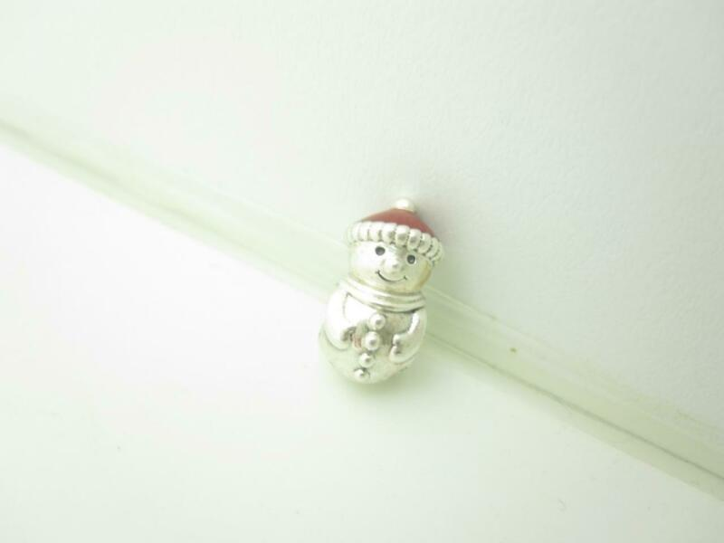 Pandora Sterling Silver Red Enamel Hat Snowman Christmas Holiday Charm