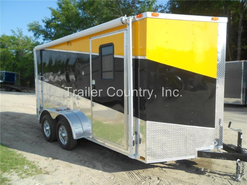 NEW 2019 7X14 7 x 14 V-Nosed Enclosed Cargo Triple Color Motorcycle Trailer Ramp