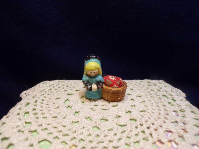 Vintage Tiny/ Mini GIRL PIN CUSHION- dutch look (?)