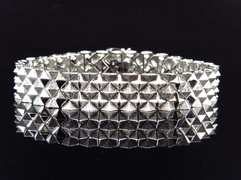 Mens Pave Set 10k White Gold Genuine Canary & White Diamond Bracelet (2.30 Ct)