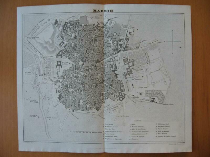 Small 1839 DUFOUR map -  City plan MADRID Spain