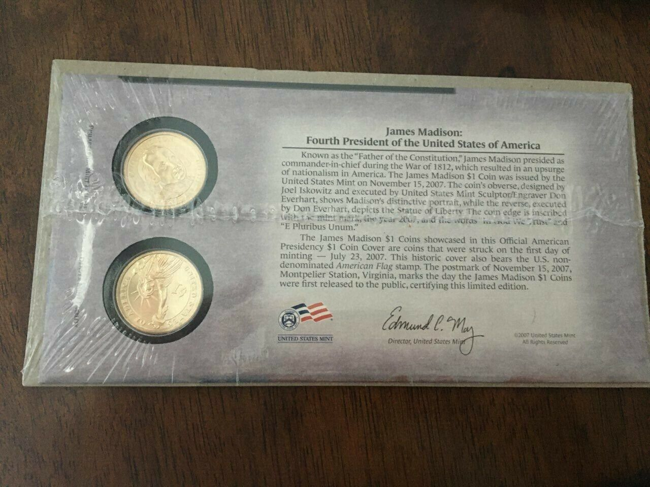 BNIP UNITED STATES MINT FIRST DAY COVER 2007 JAMES MADISON DOLLAR COIN SET - $15.00
