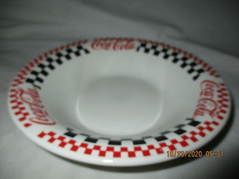 "Coca-Cola Coke 8"" Coupe Soup Bowl Gibson Checkerboard Pattern 1996"