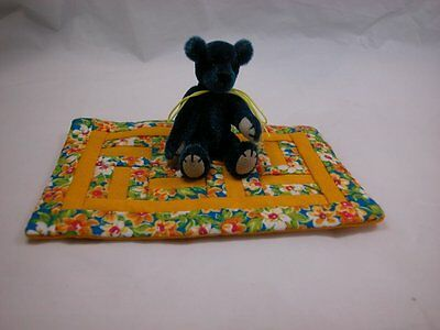 """World of Miniature Bears 2.5"""" Plush Bear with Quilt #Q3 Collectible Bear"""