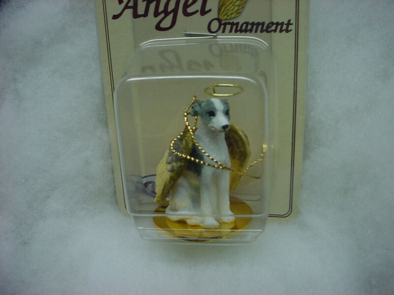 WHIPPET Gray White dog ANGEL Ornament HAND PAINTED resin FIGURINE Christmas NEW