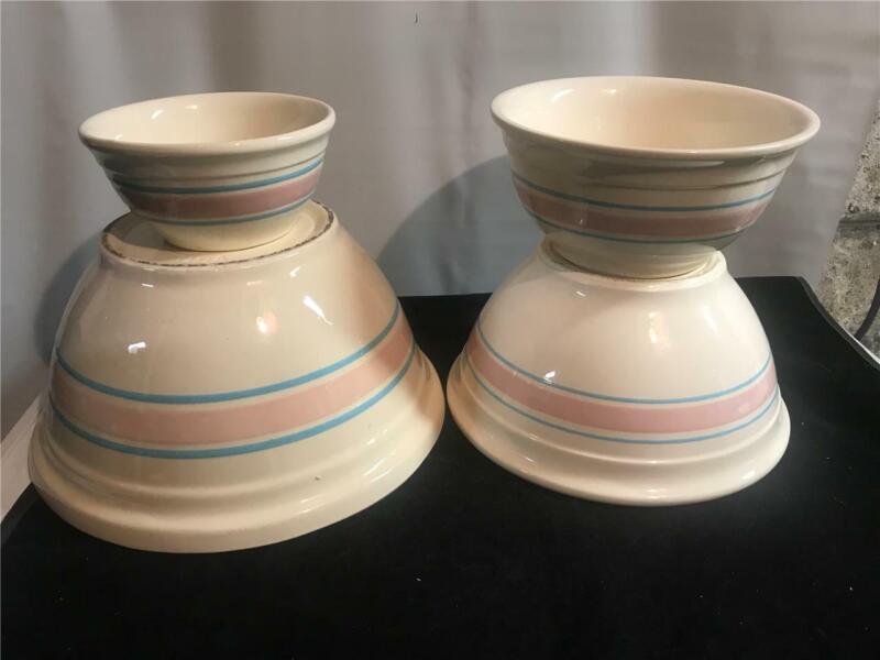 4 McCoy Pink & Blue Striped Nesting Mixing Bowls 12 10 8 6