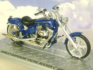 SUPERB DIECAST 1/24 2008 HARLEY DAVIDSON FXCWC ROCKER C MOTORBIKE IN BLUE