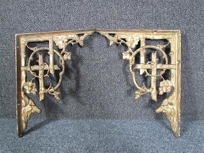 PAIR OF ANTIQUE VICTORIAN CAST IRON WALL BRACKET SHELVES, WOLF HEADS, ACORNS