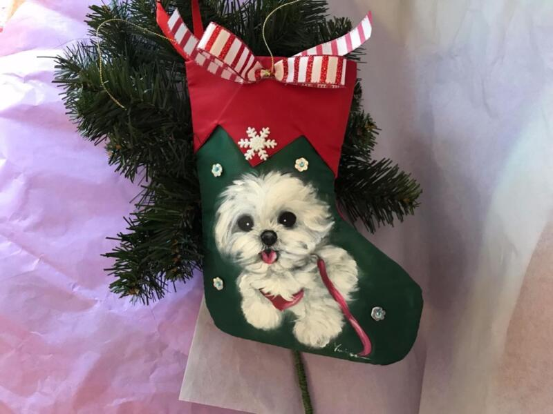 MALTESE PUPPY HAND PAINTED CHRISTMAS STOCKING