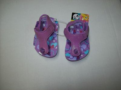 Baby Girls Water Shoes Glitter Purple Hearts Adjustable Slingback Size 2  ()