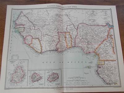 Antique c1904 Colour Map of EUROPEAN POSSESSIONS IN WEST AFRICA HARMSWORTH ATLAS