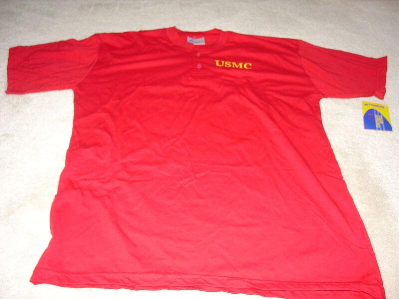 USMC Marine 2 button T-Shirt 50% Poly 50% Cotton Large