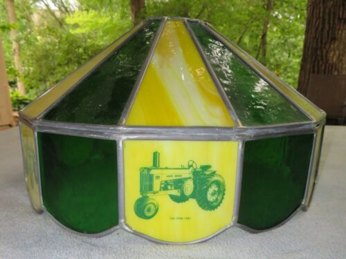 John Deere Leaded Glass Green and Yellow Tiffany Style Lamp Shade