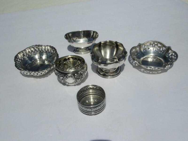 6 - Vintage Sterling Silver Master Salts & Nut Dishes - All Signed -102.3 gr