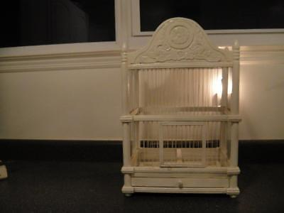 "Vintage Carved Wood & Wire Bird Cage Victorian Style White 23 1/4"" X 14 1/2"" VGC"