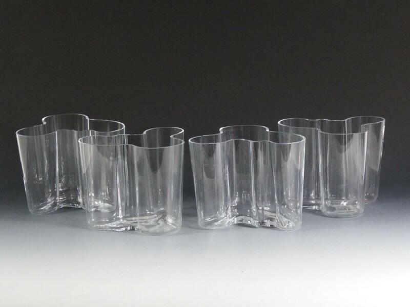 (4) Iittala Alvar Aalto Clear Glass Flower Vases - Scandinavian - Signed