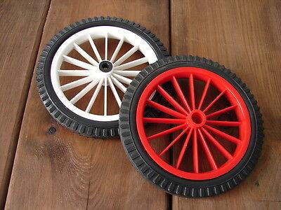 16-Speichen Vollgummi Rad Ø 17cm rot oder weiß Kinderwagenräder Räder Wagenräder - Rot Weiß Gummi