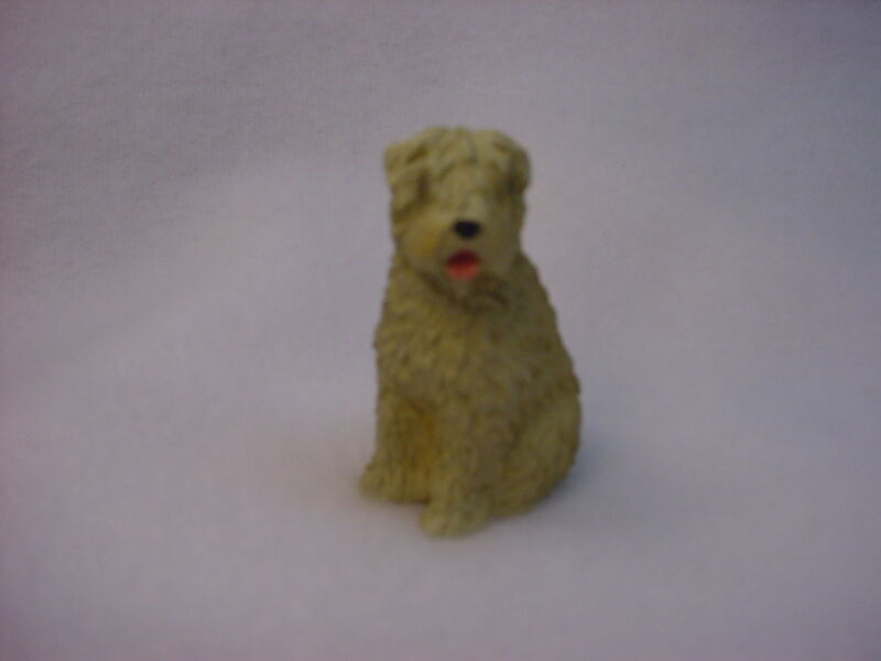SOFT COATED WHEATEN TERRIER dog FIGURINE puppy HAND PAINTED MINIATURE SMALL MINI