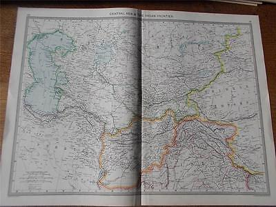 Antique c1904 Colour Map of CENTRAL ASIA & THE INDIAN FRONTIER HARMSWORTH ATLAS