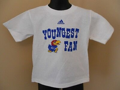 "NEW Kansas Jayhawks ""YOUNGEST FAN"" Toddler Size 3T White Adidas Shirt"