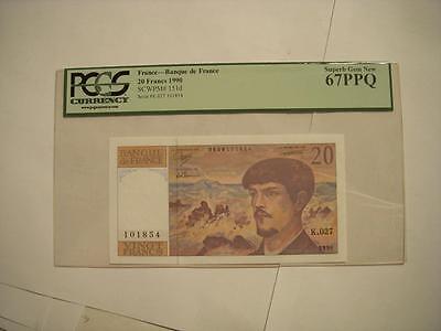 France--Banque de France 20 Francs 1990 PCGS 67PPQ Top Pop