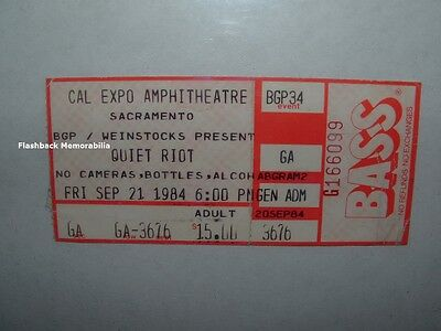 QUIET RIOT / WHITE SNAKE Concert Ticket Stub 1984 SACRAMENTO Cal Expo VERY RARE
