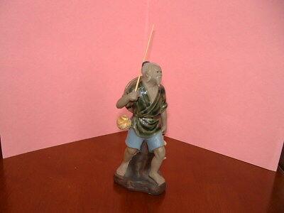 Mud Man Figurine Walking Fisherman 6 inch Glazed Fine Detail Excellent Condition