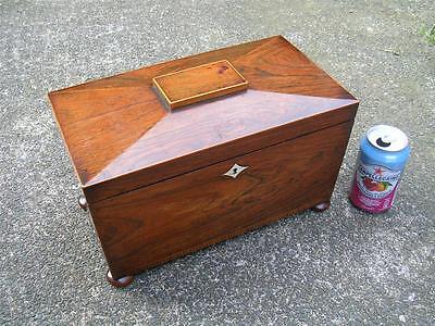Fine large antique rosewood tea caddy circa 1840.