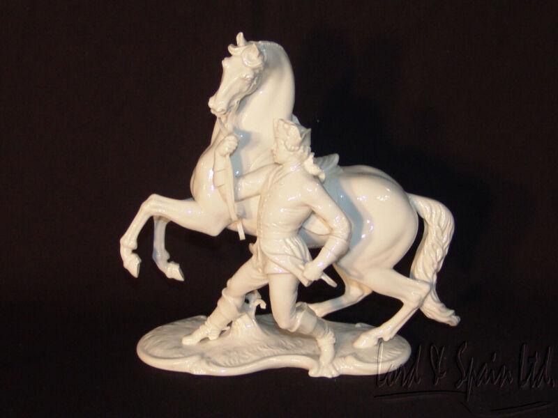 Nymphenburg White Blanc De Chine Lippizan Horse & Trainer/Rider Figurine-#552