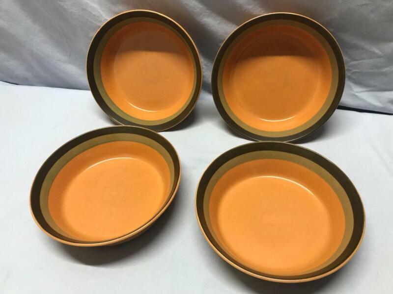 "ARROW STONE  Lot of (4) 7"" Soup Bowls - CHEROKEE - Green & Brown Stripes - JAPAN"