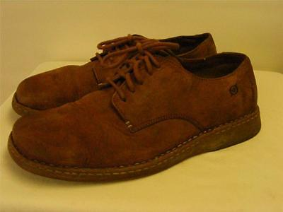 mens BORN BROWN TAN SUEDE LEATHER CHUKKA shoes size 11.5  45.5 LACE UP CLEAN