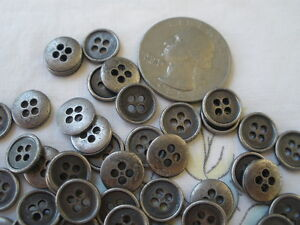 TINY 9MM metal shirt buttons 4-hole rim Antique silver pewter color 48p 16L 3/8