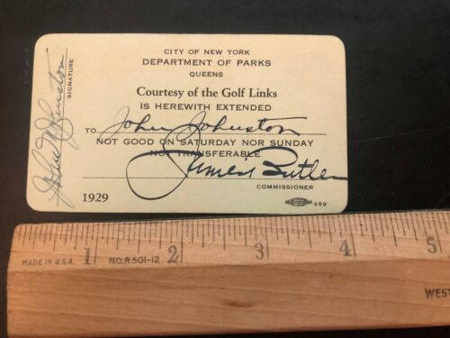 New York City Department of Parks Golf Pass 1929 Ephemera