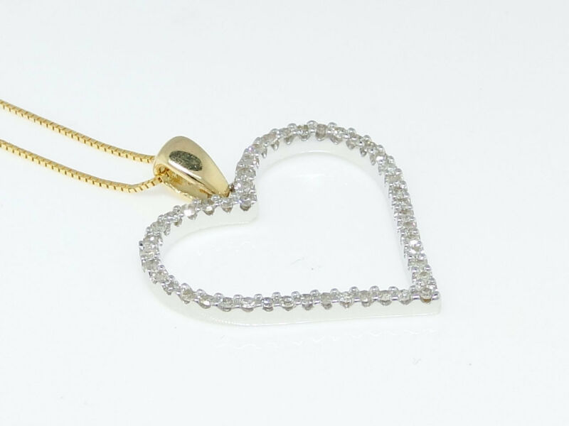 14K Yellow Gold Ladies Heart Love Diamond Pendant Charm 1 Inch