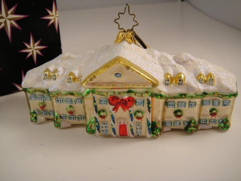 Vintage Christopher Radko Retired 2003 Bank Building Christmas Ornament VGC