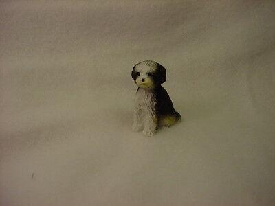 SHIH TZU black white puppy TiNY DOG Figurine MINIATURE Mini Pet Statue sport cut