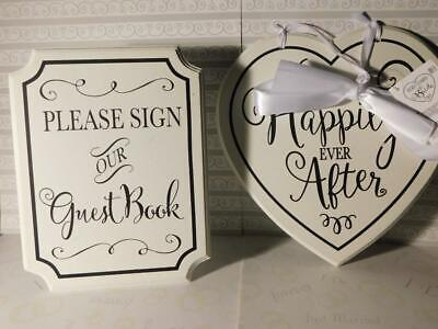 Please Sign Our Guest Book & Here Comes the Bride 2 Sided Wedding Signs Matching