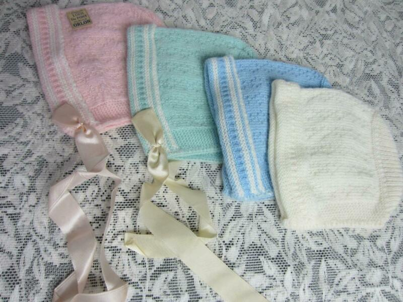 *VTG Knit Baby Bonnets Store Bought with Tag, Never Used Set of 4 Pc for Layette