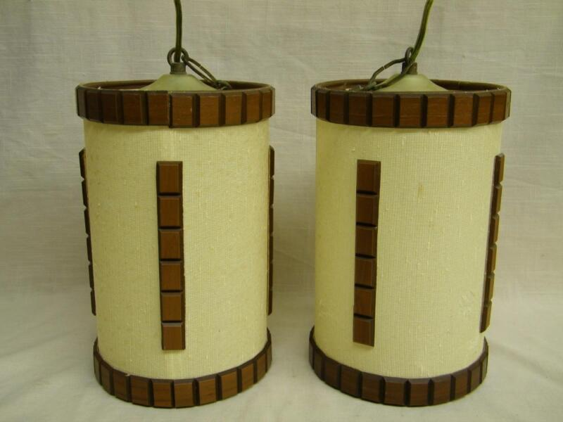 Two Vintage Mid Century Danish Modern Wood Hanging Swag Light Lamp for repair