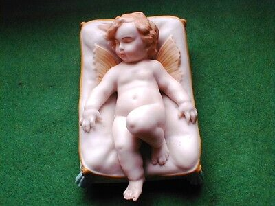 W H GOSS COLOURED PARIAN FIGURE OF EVANGELINE ON CUSHION IMPRESSED MARK c 1890