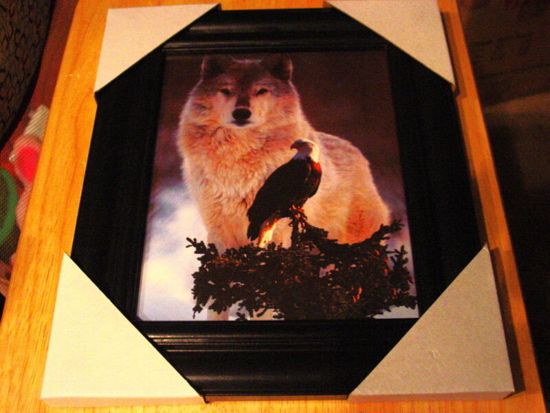 WOLF AND EAGLE 11X13 MDF FRAMED PICTURE ( BLACK COLOR FRAME )