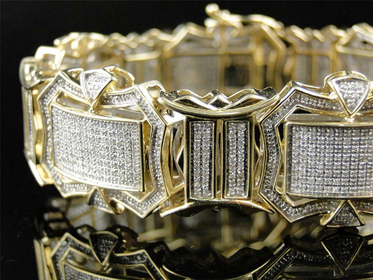 12CT Diamond 14K Men's Yellow Gold Over Engagement Exclusive Tennis Bracelet 2