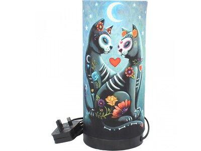 Nemesis Now Starry Night Sugar Skull Cat Bedside Lamp Desk Light Gothic Decor