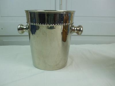 Vintage Large Champagne Wine Cooler Ice Bucket Side Nob Handles Stainless Steel  ()
