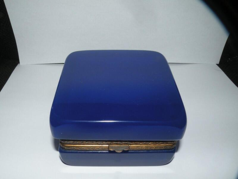 ANTIQUE FRENCH OPALINE ROYAL BLUE ART GLASS DRESSER JAR 3.75X3.75