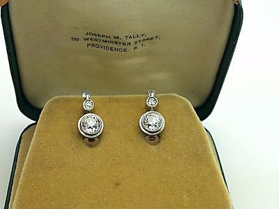 Antique Art Deco 1.88ctw EGL European Cut Diamond Hanging Drop Platinum Earrings