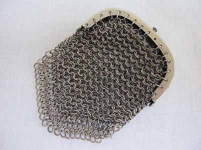 ANTIQUE VICTORIAN MINIATURE STEEL MESH CHAIN MAIL PURSE BAG c1860