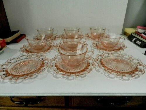 Pink Depression Glass Old Colony Open Lace 7 Cups & 9 Saucers Excellent